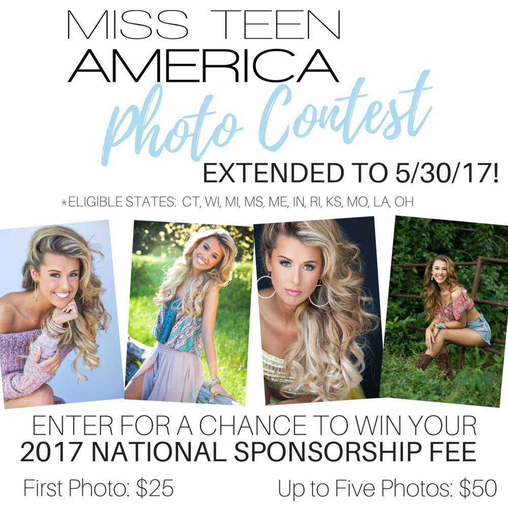 The contest is open to those from the states of Connecticut, Wisconsin, Michigan, Mississippi, Louisiana, Maine, Indiana, Rhode Island, Kansas, Ohio & Missouri. If your state is not listed, contact us at info@missteenamerica.com to see if there are openings in your region.