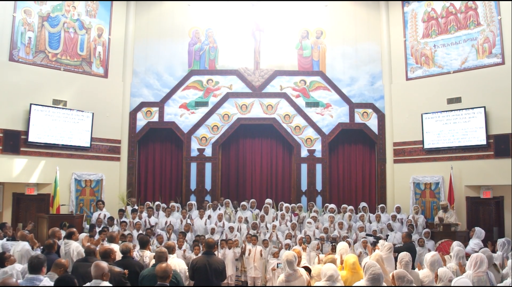 Youth Choir @ Ethiopian Orthodox Tewahedo Church - Menbere Berhan Kidest Mariam (St. Mary) Cathedral - Hosaena / Palm Sunday (Eighth Sunday of the Great Lent) - April 1, 2018
