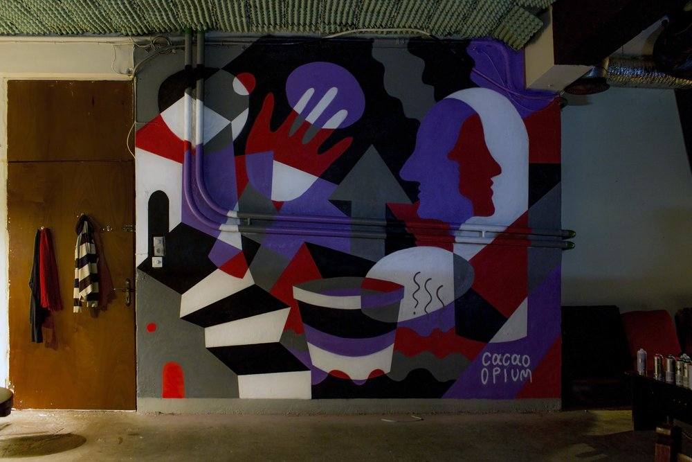 mural for the athens social space mperntes, collaboration with cacao rocks