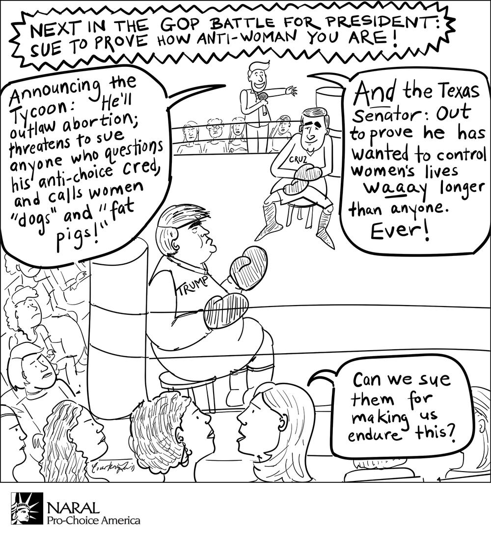 Political cartoon for NARAL Pro-Choice America (2016)