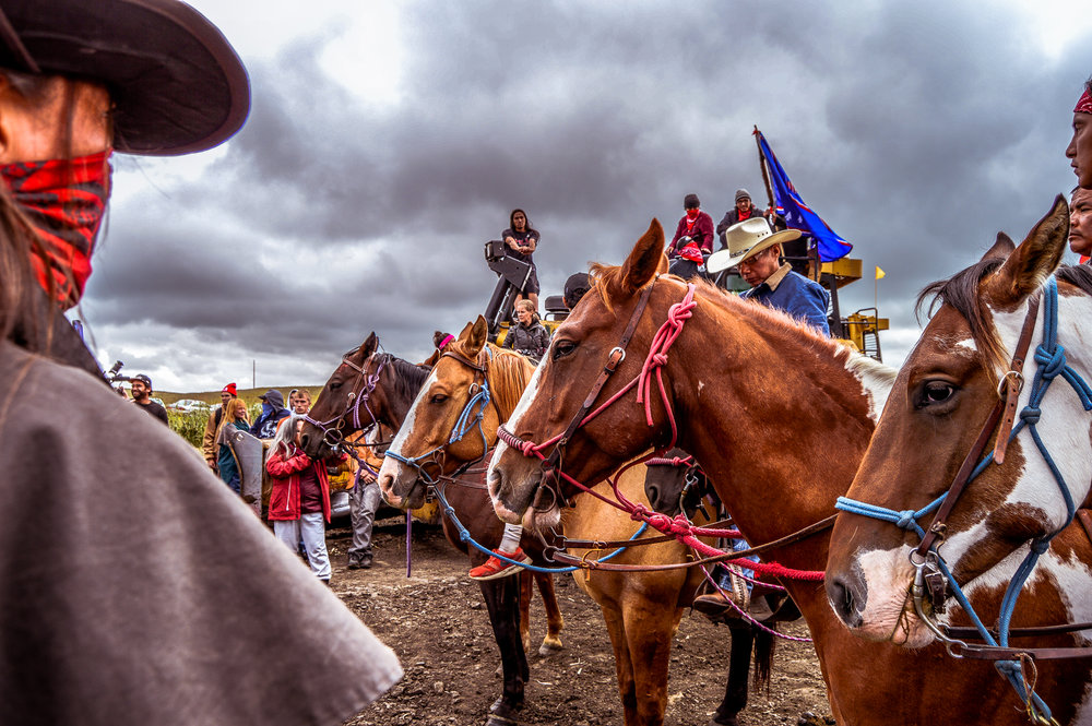 Peaceful demonstrators on horses ride onto the construction site of the Dakota Access pipeline to protect the water on 6 Sept 2016. Photo by Rob Wilson for Bold Alliance