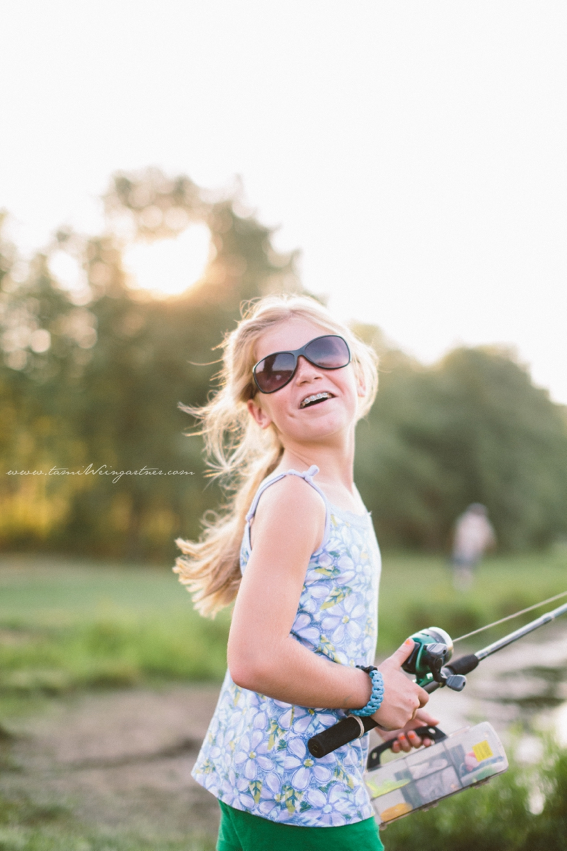 Little girls and fishing poles.
