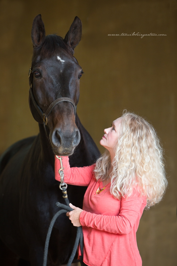 FEI Dressage Rider and Instructor, Kathy Montgomery, with Riverdance
