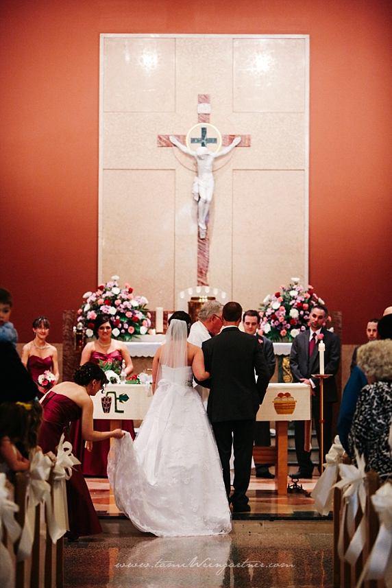 The lovely Immaculate Heart of Mercer alter for a wedding