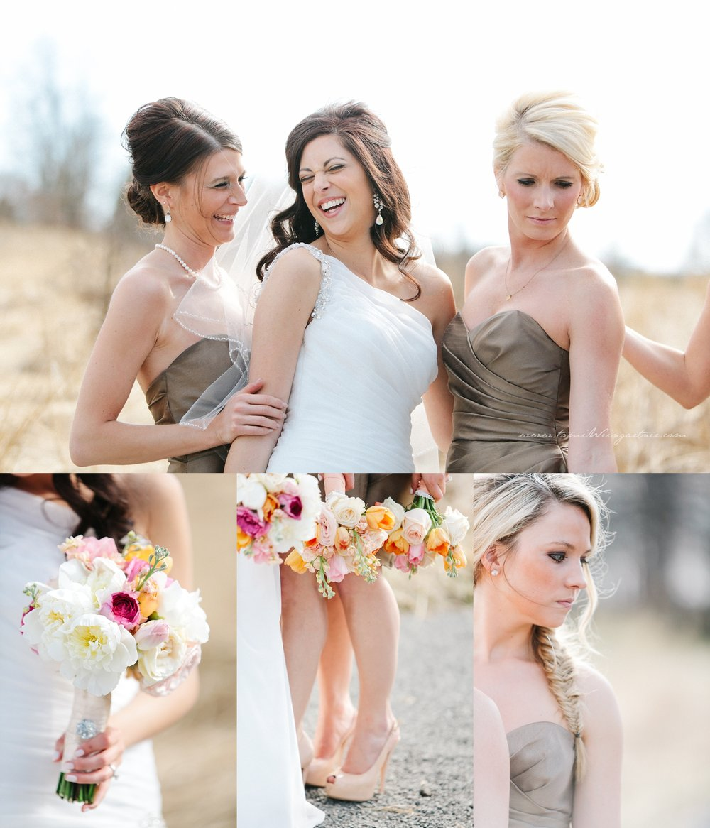 Happy bridesmaids and bride with gold dress and lovely bouquets