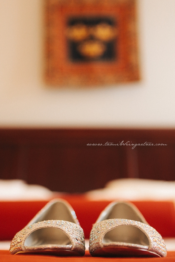 Fun shoe shot on bedspread