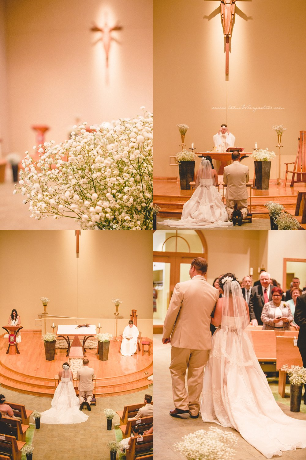 Minimalistic catholic Holy Trinity church in Ligonier during a wedding
