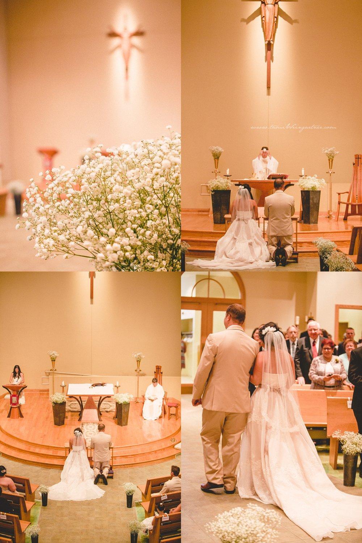 Minimalistic catholic Holy Trinity church in Ligonier during a wedding