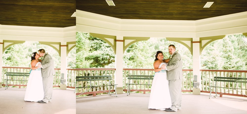 Wedding Couple dancing in the gazebo at Boardman Park