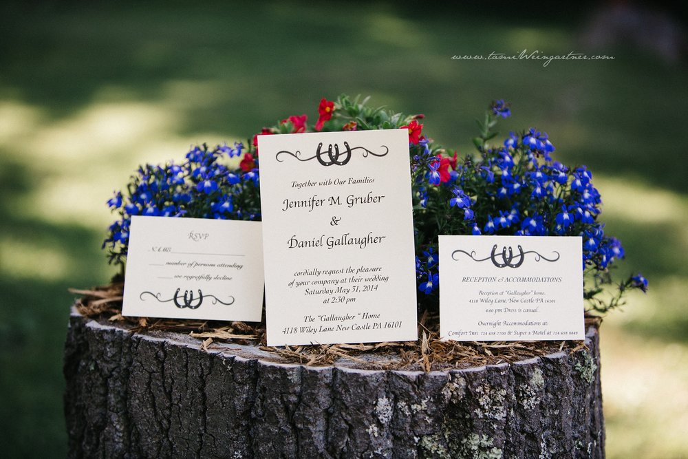 Wedding Invitation displayed on a tree stump at a backyard wedding