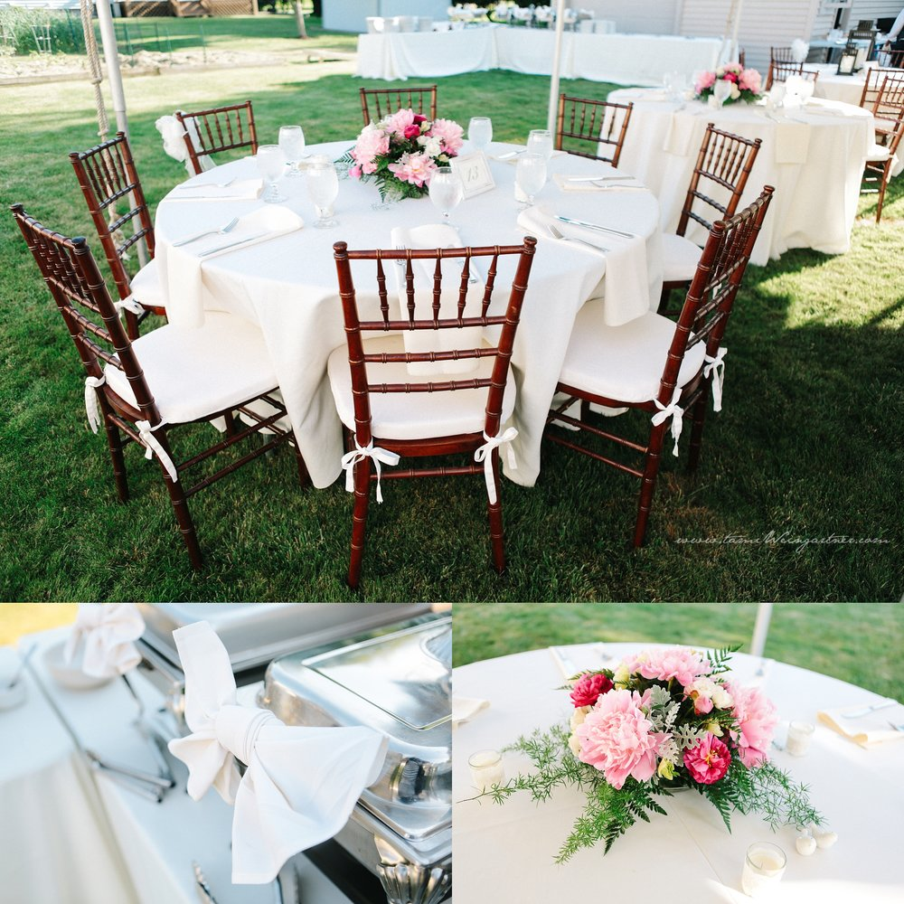 Backyard tent wedding with chivari chairs in hubbard oh