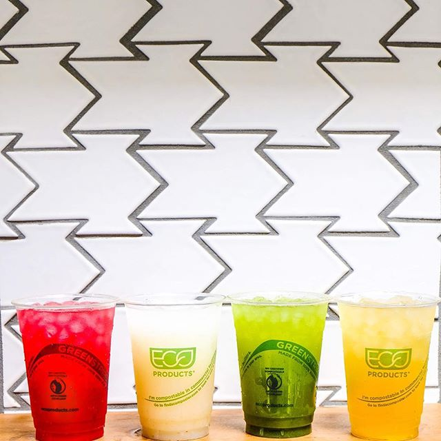 From left to right; Hibiscus Lemon Grass, Lychee Lemonade, Mint Limeade and Green Tea Rose. Choose your favorite! #mainlandpoke #flowmotionbaby
