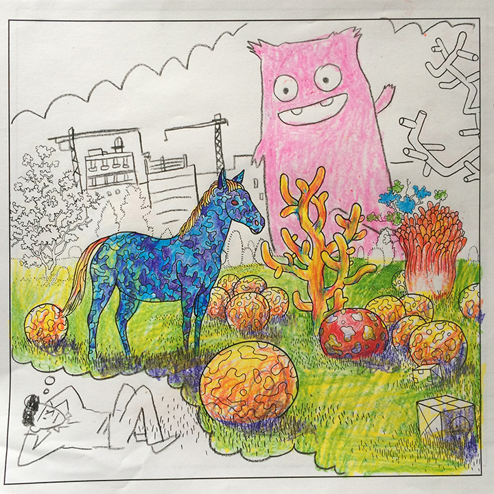 Sarah Glidden drew Fran Lopez having a psychedelic bubble gum monster attack fever dream. She also drew some stuff in the margins that isn't quite safe for work, so don't ask.