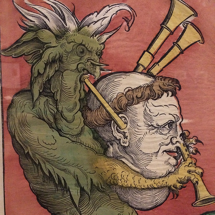 The Devil playing a clergyman's head like a bagpipe. Blowing in through the ear. I love these weirdly literal metaphors.