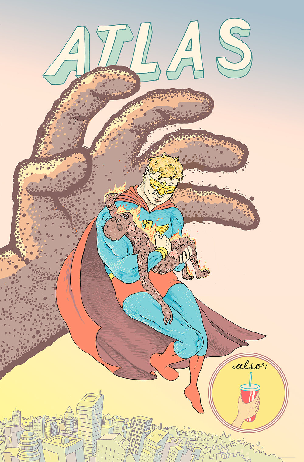 Josh Bayer asked me to do a cover for one of a new line of over-the-top, campy and fever-dreamy superhero comics he's editing at Fantagraphics. It's called All Time Comics, and one of the books is about a Superman-style character called Atlas. The story is, like I said bananas. The art is by Ben Marra and Matt Rota and is truly inspired. And I got to pretend I was Alan Davis doing a Marvelman cover. Thanks to Josh and Jason Miles for roping me in.