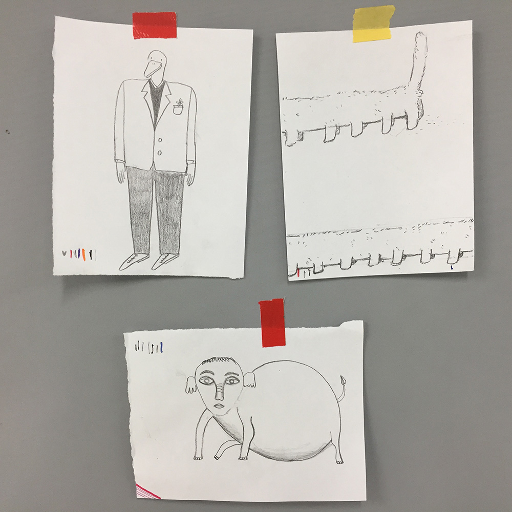Characters: a well dressed Duck, an Elephant and a faceless and apparently infinite cat