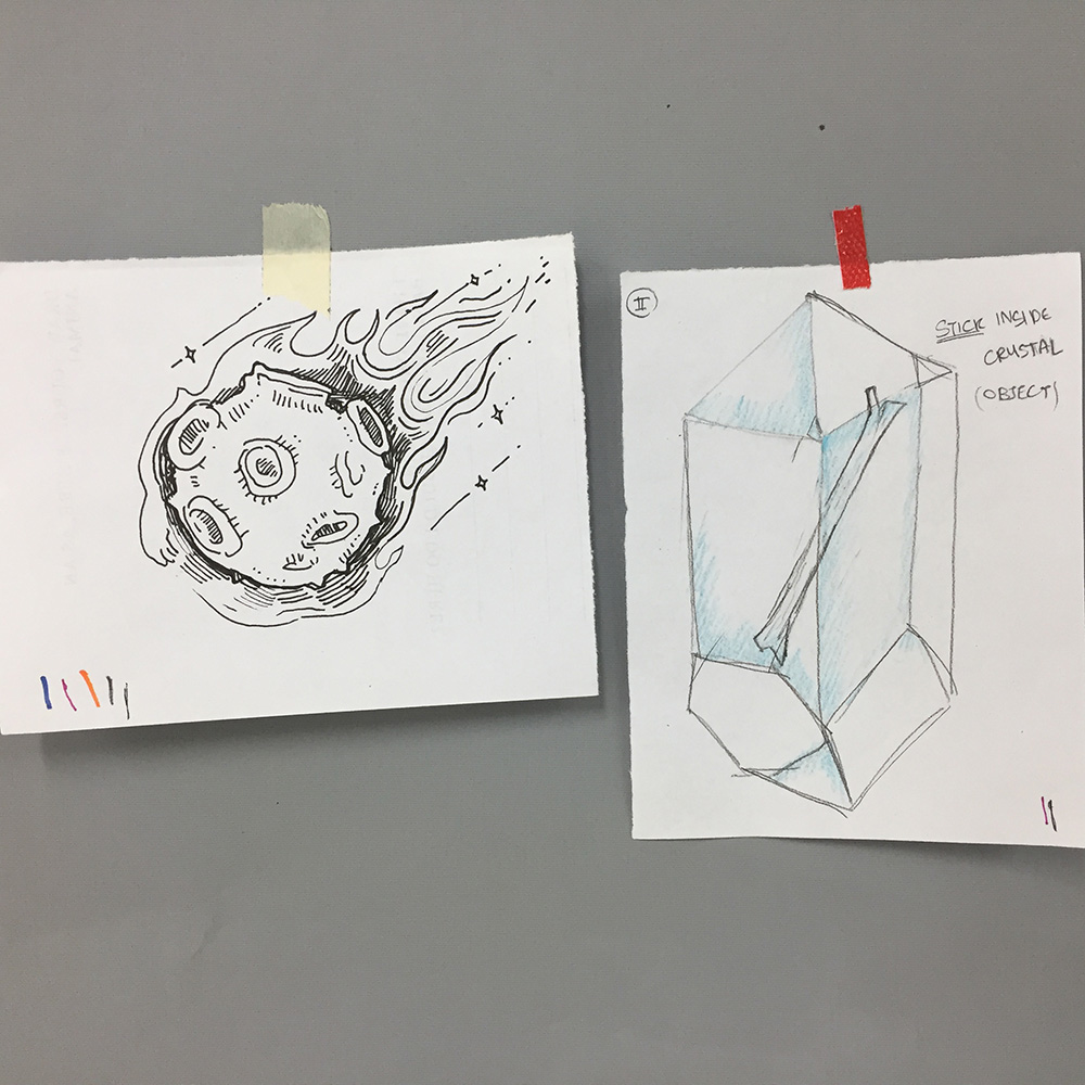 Objects: a meteor and a stick which happens to be contained inside a crystal.