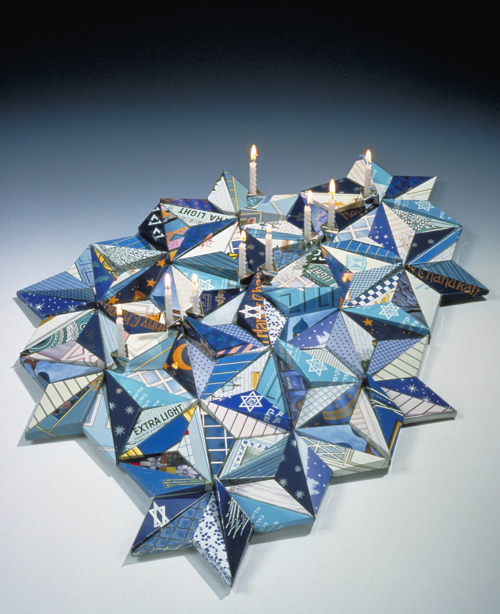 Menorah from recycled tin cans