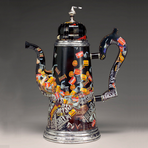 Obverse Obsession Chocolate Pot by Harriete Estel Berman from recycled tin cans