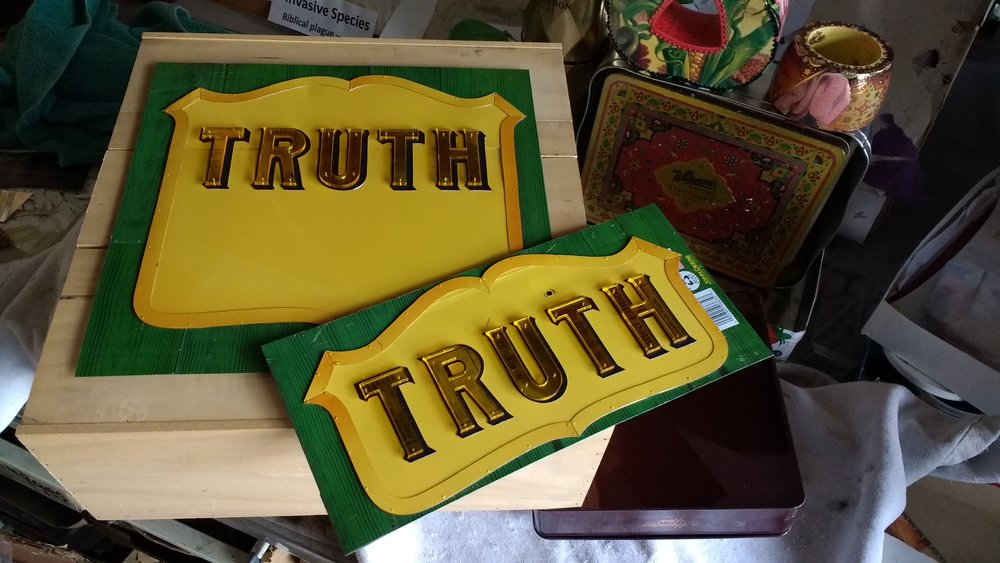 Truth Fruit Crate Label is in progress. It is a commentary about our current political situation.