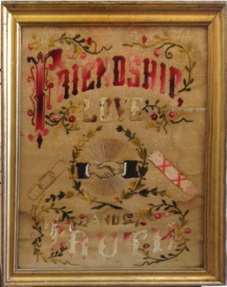 Friendship, Love and Truth embroidered sampler from the 19th century.