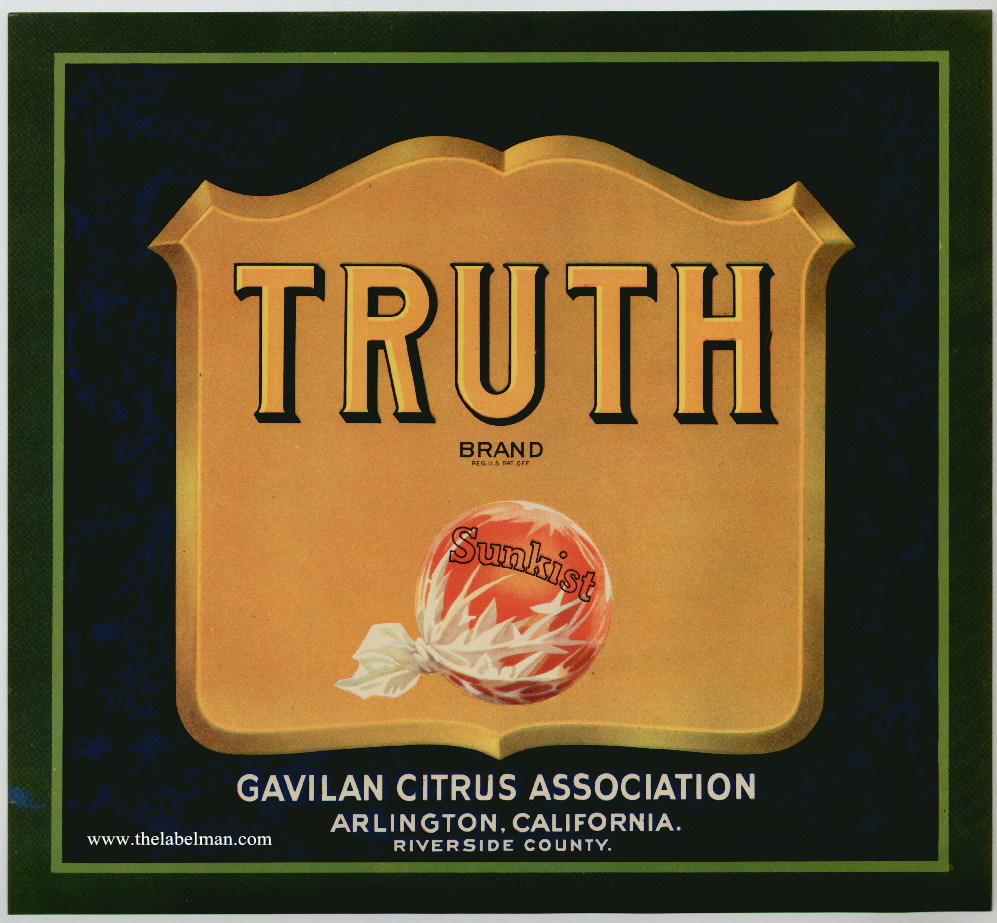 TRUTH original fruit crate label from the early 20th century.