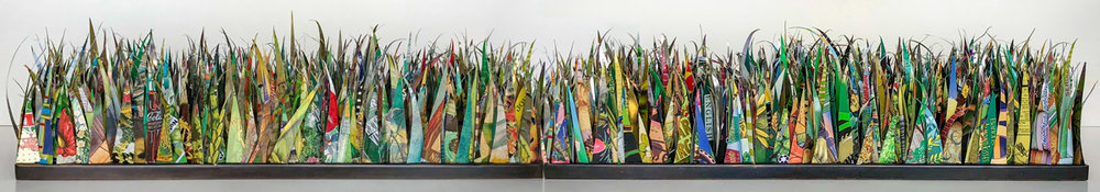 "A Yard of Grass 36"""" blades of grass from post consumer tin cans."