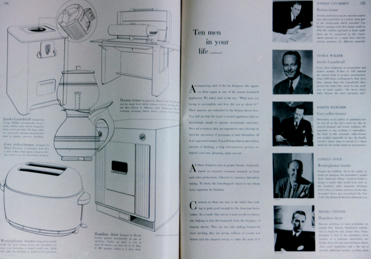 This article from a mid-20th century women's magazine showcases early industrial designers and the domestic appliances that benefited from their design innovations.