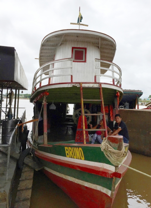 Our Houseboat!    Expedition leaders, Dr. Laura K. Marsh and Dr. Felipe Ennes Sliva (abd), were very excited to meet Capitão Elival when they went to Brazil in May, 2016 to prepare for this expedition.