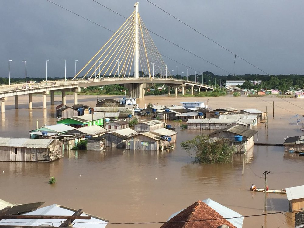Floods inundated many homes in Cruzeiro do Sul.