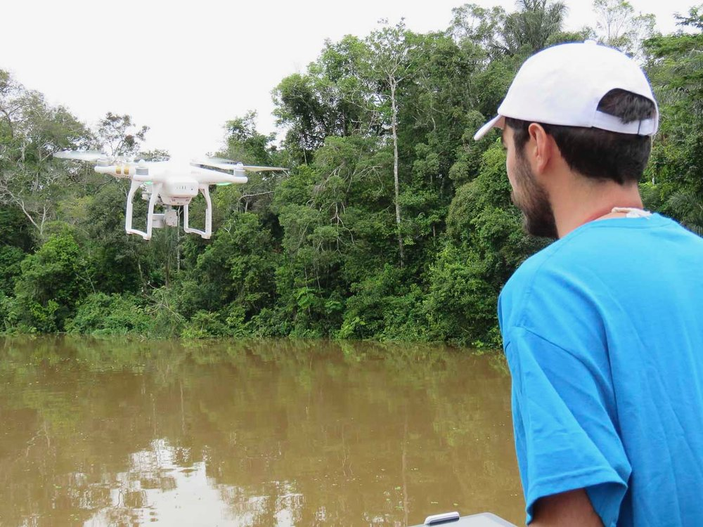 The drone coming in for a safe landing to Juan Pablo.