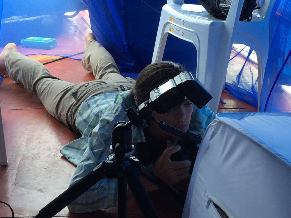 Christina Selby, Houseboat Amazon's embedded journalist, shoots into a soft lightbox on the upper deck of the barco (in the Research Palace!). Small rainforest creatures like frogs were captured, photographed, and released back where they were collected. Photo by Laura K Marsh