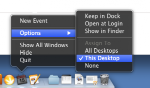 "Just select ""This Desktop"" to pin an app to a specific Mission Control desktop."