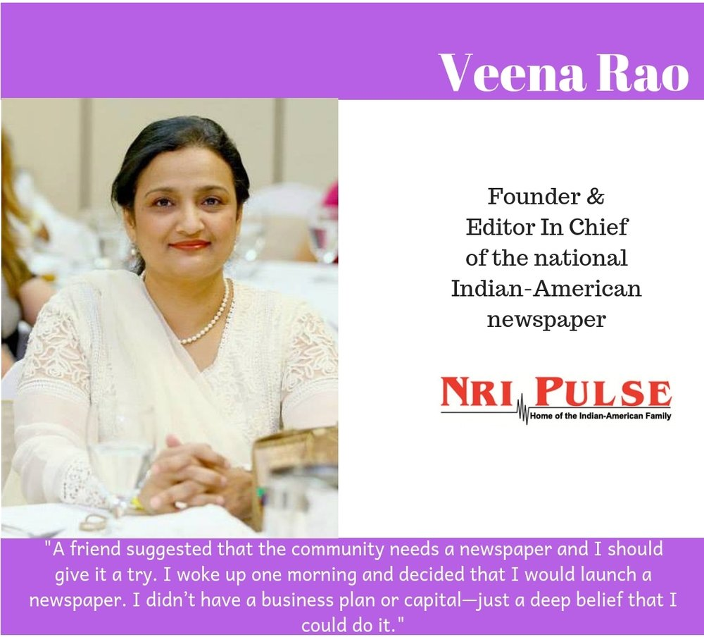 #browngirlwrites Ananya Vahal interviews NRI Pulse Founder and Editor in Chief Veena Rao.