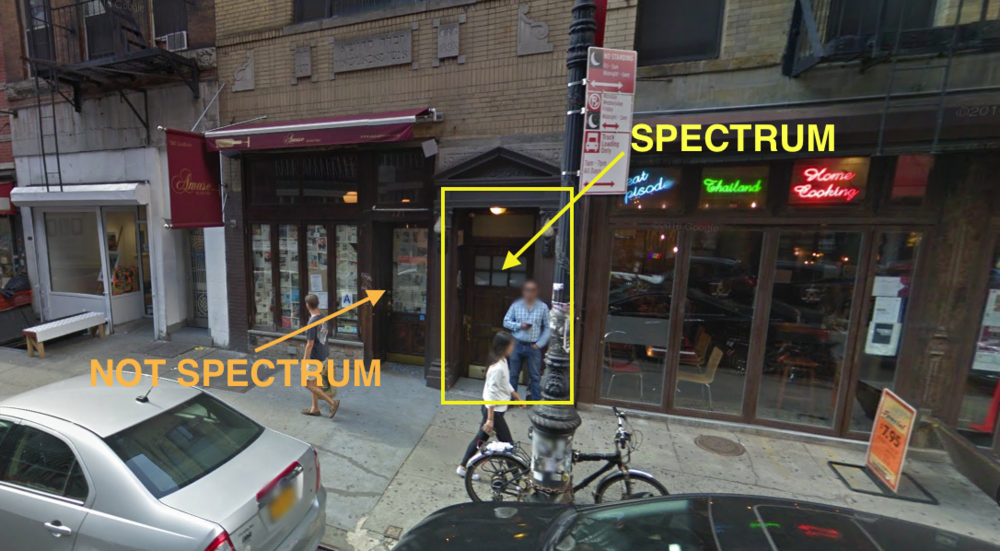 I have 100% gotten lost in this area- tried walking in the wrong door, became flustered.... here is a sort of handy guide to which of these mystery doors will lead you to Spectrum if you are looking at google maps. Open this door, walk up to the second floor!