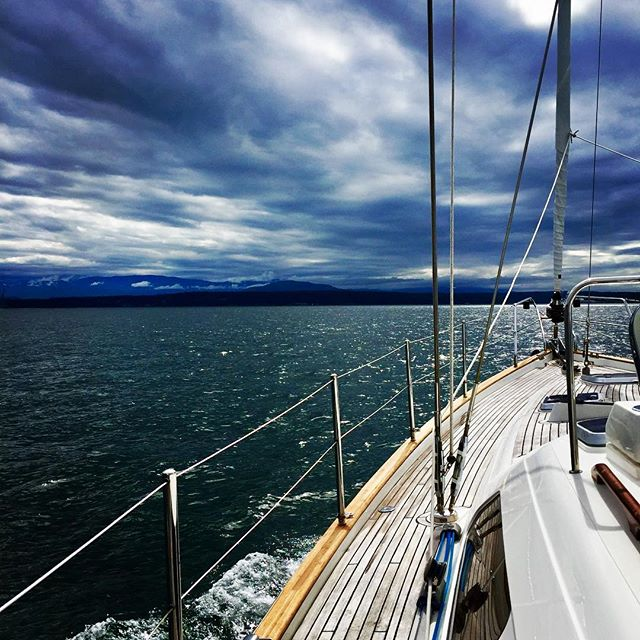 Anchoring off Marrowstone Island ⚓️. Excited to meeting our #Moody cousins. Who #sails these rare birds? #sailing #sailboat #sailingseason #wanderlust #weekend #sky