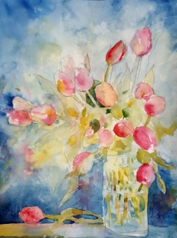 """""""Tulips 2017"""" February Session """"Tulips"""" Sorry guys, this painting is not yet finished but I think there is enough here for you to get the idea! Hope you can join us this month."""