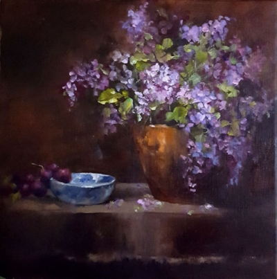 """Lilac Still Life 1""  Oil on stretched canvas  12 X 12"""