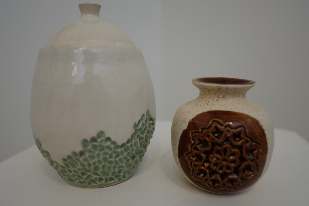 Carved Jars (stoneware clay) - Lexie Massa