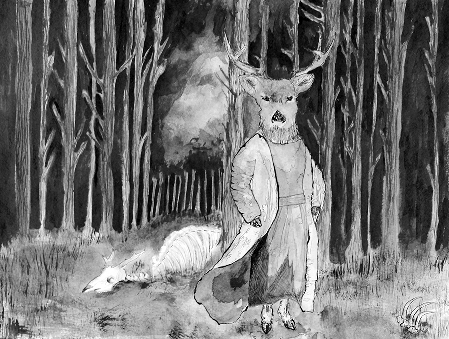 forest spirit (ink) - Ayame Whitfield