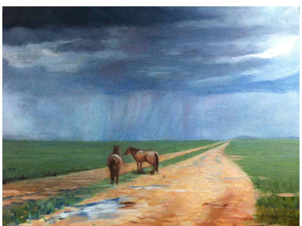 Horses on the Road (oil) - Angela Liu
