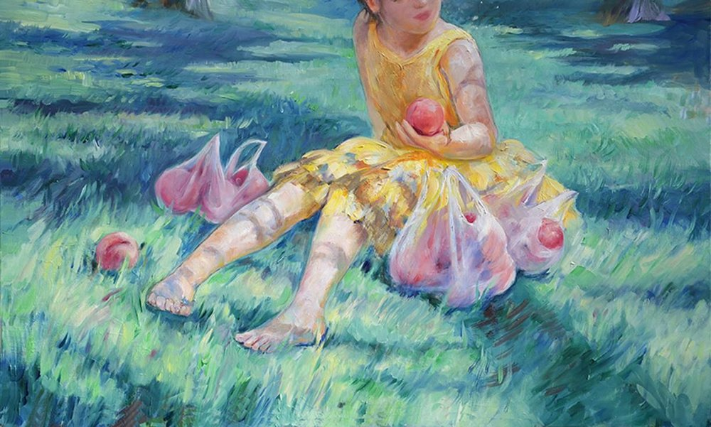 Peach Picking (oil) - Julie Peng