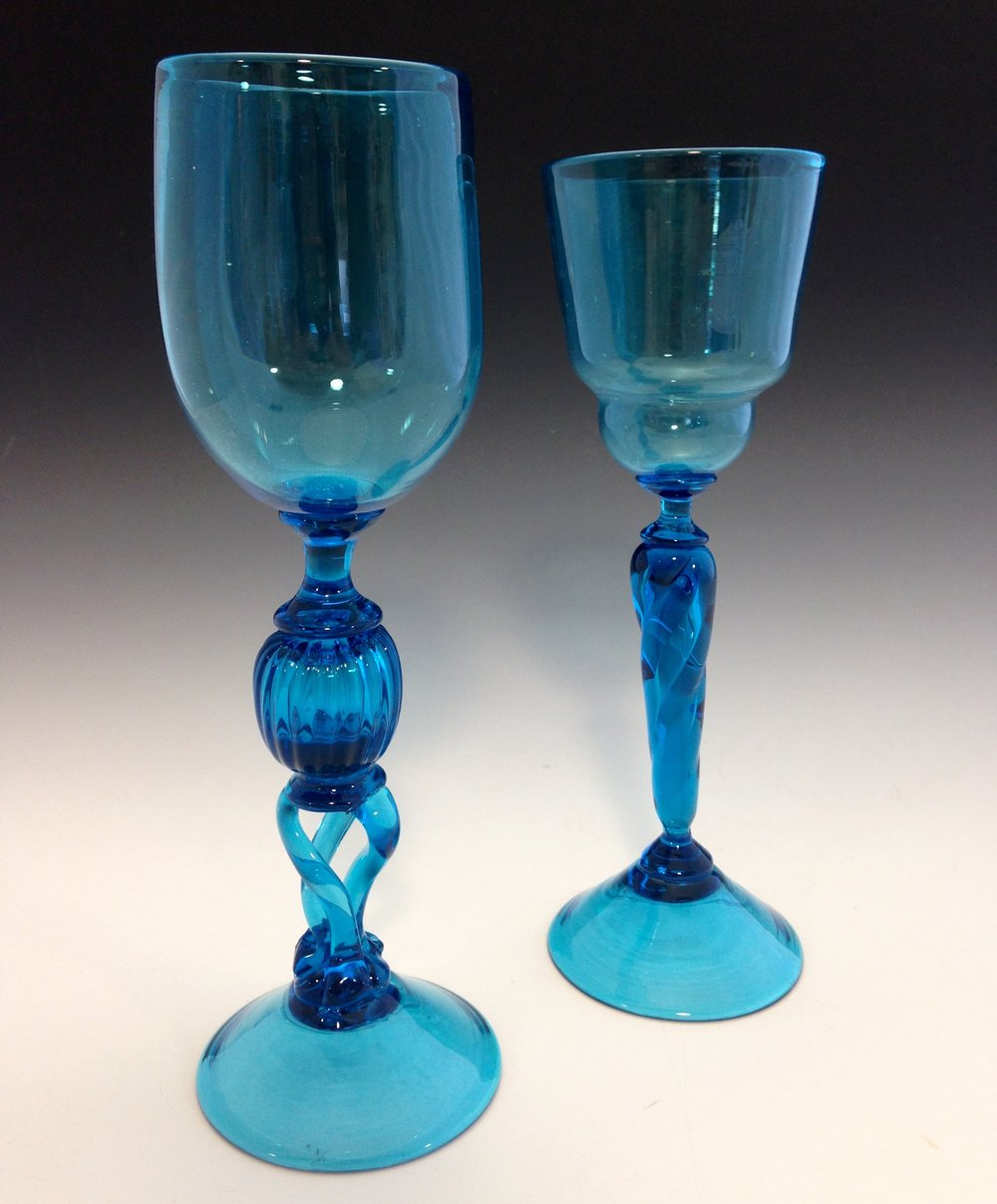 Cobalt Goblets (glass - 3'' x 3'' x 9'') – Alex Evenchik