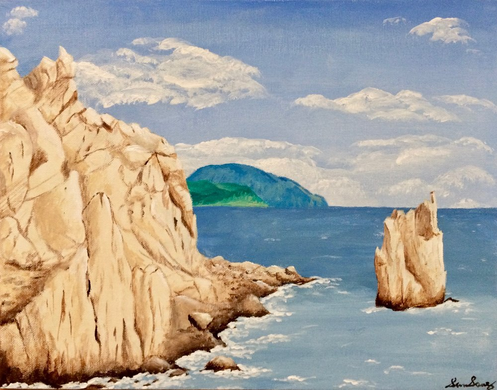 Crimea and the Black Sea (acrylic) - Simru Somnez-Erbil