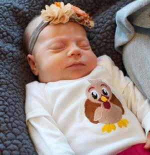 Here's my baby at one month old when she started showing signs of food allergies.