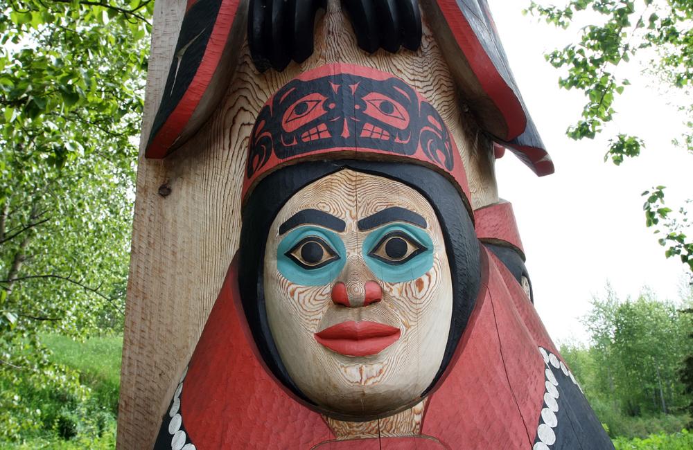 Totem art outside the Alaska Native Heritage Center