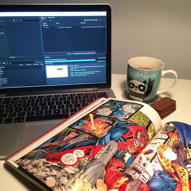 Getting ready to burn some midnight oil, waiting for this animation to finish rendering for @mixamprint then on to some instruction illustrations then some magazine pages... but first some chocolate and 90s comic 👌😎☕️ #freelance #animation #comics #ageofapocolypse #mac #apple #bourbon #hotchocolate #work #late #graphicsdesigner #graphicdesignerlife