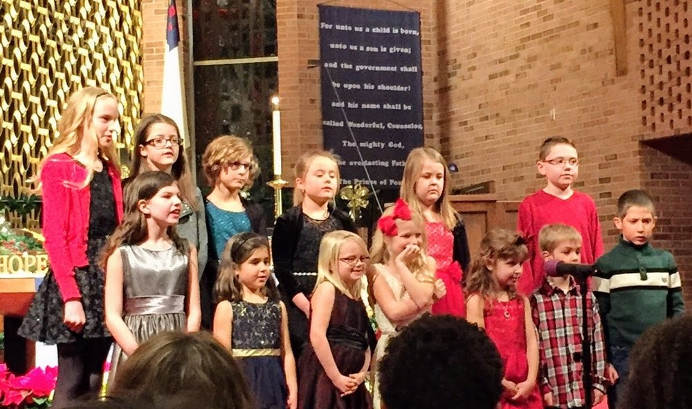 Our Children's Choir (5yr-5th grade) assembles twice a year and rehearses for four weeks prior to Christmas and Easter. Then they sing in worship at the 7:30 Christmas Eve service and on Easter morning.