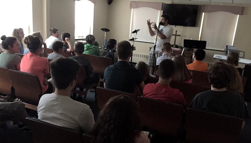Chapel is part of weekly Youth Group, led by Kevin Robillard, Youth Director.