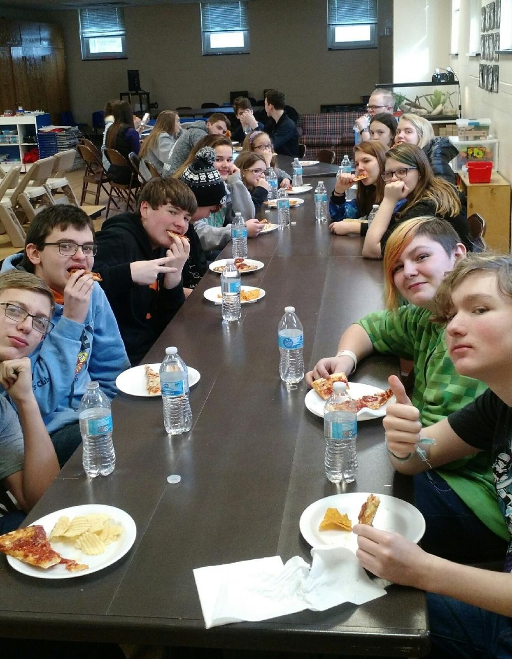 Youth Group begins with a simple meal provided by church members most Sunday evenings.